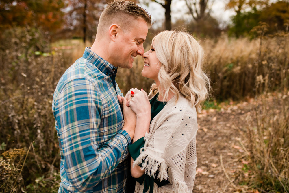 Couple embraces nose to nose, Kansas City fun engagement photos, Rebecca Clair Photography