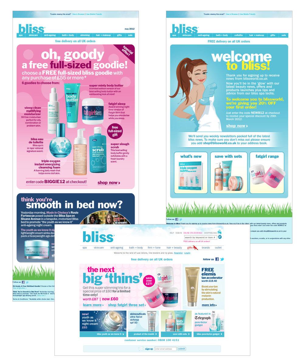 Bliss UK : emails, website graphics, light coding