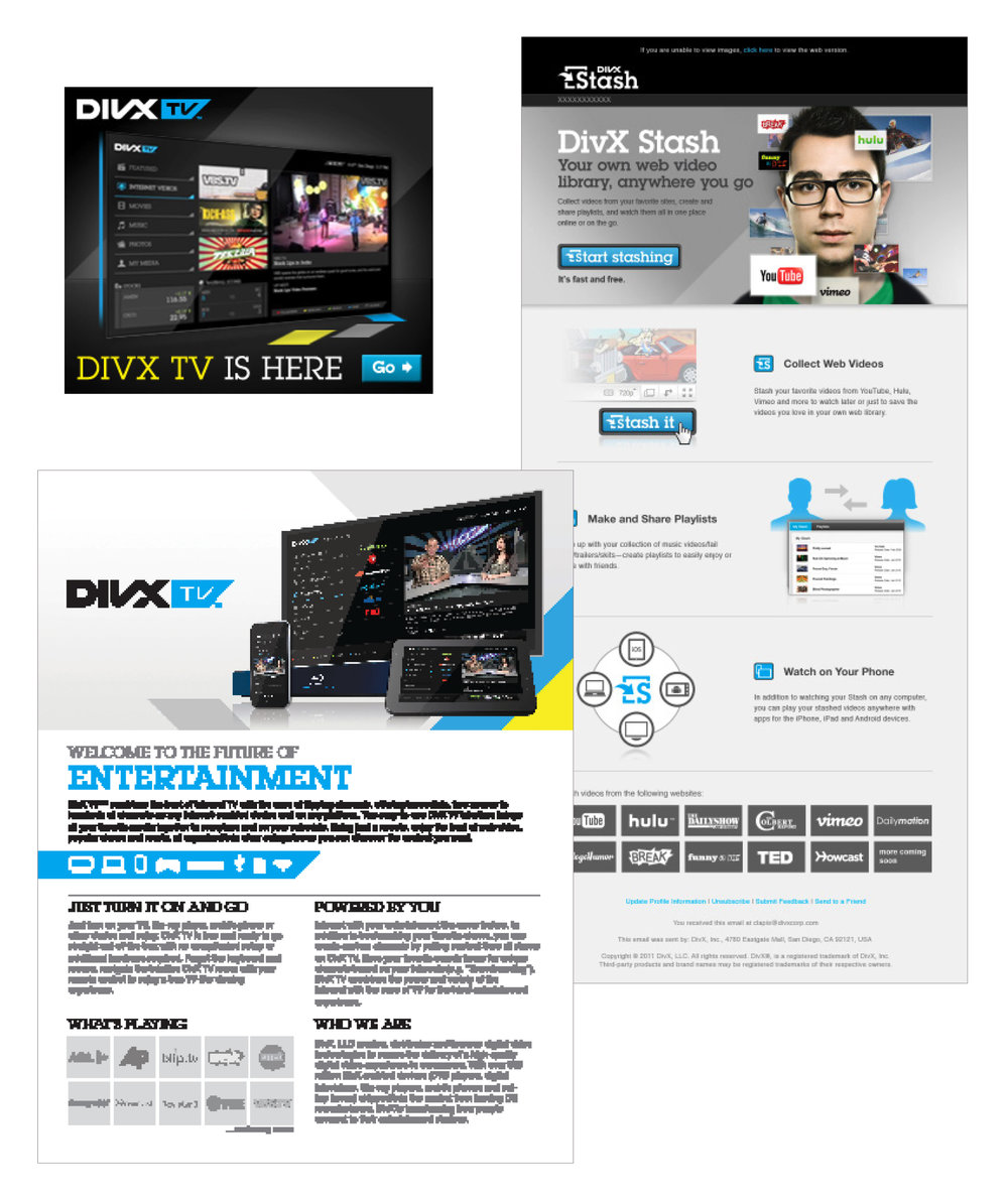 DivX TV:  email design, web ad, collateral