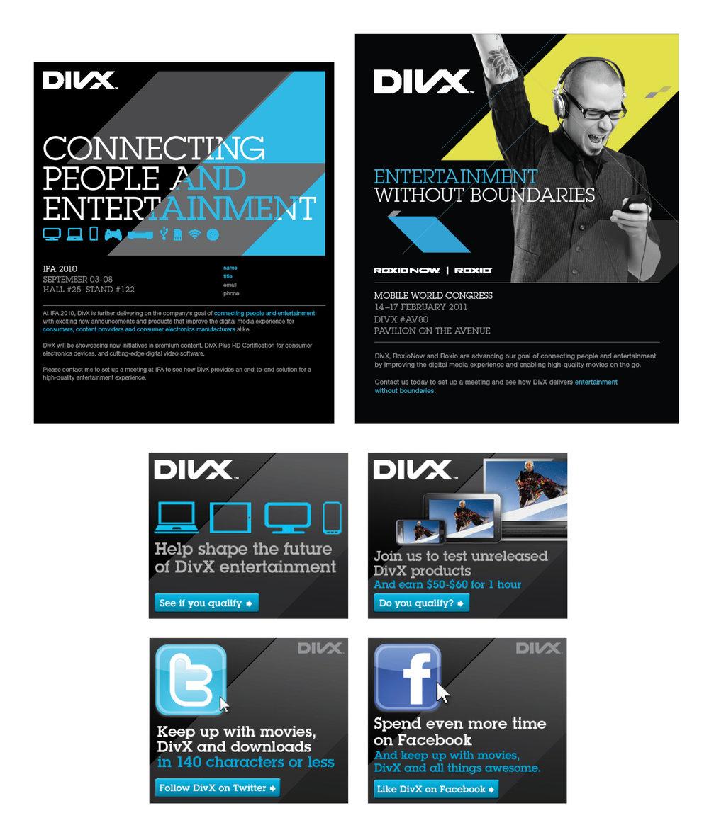 DivX: emails, invitations, advertisements