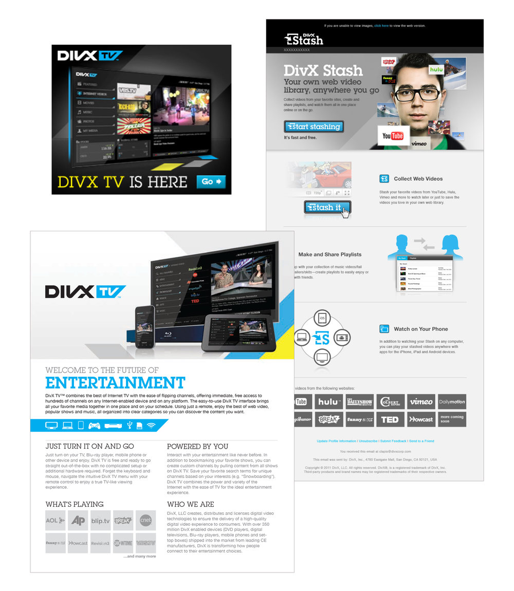 DivX TV : emails, online promotions, print collateral