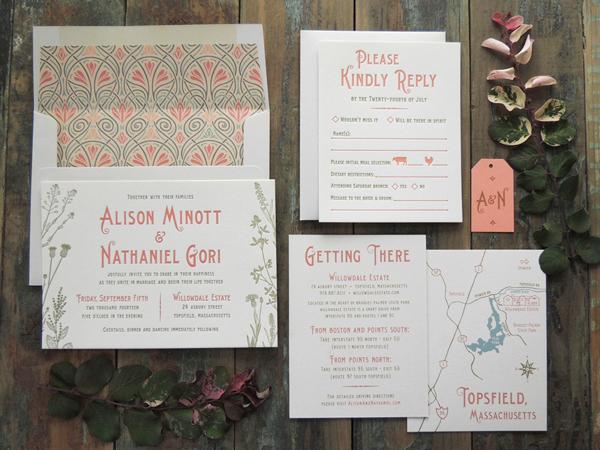 Harken Press : letterpress wedding invitation suite