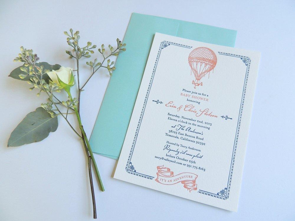 Harken Press : letterpress baby shower invitation