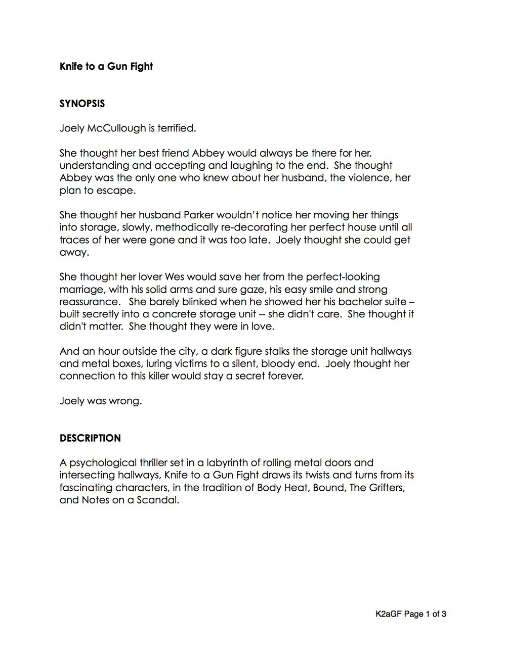sample kagf film treatment adam jackman knife to a gunfight feature short form rundown page 1 jpg