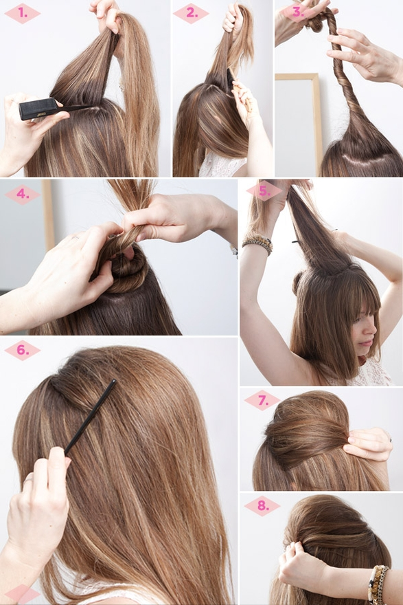 DIY OPTION 2   If the comb doesn't work for you and you want a higher bump then this is another great way to achieve this look!  You are basically creating the 'bump comb' with your own hair by twisting a small bun in the back to give you some height.  Remember:  Hair spray is your friend with this style!!