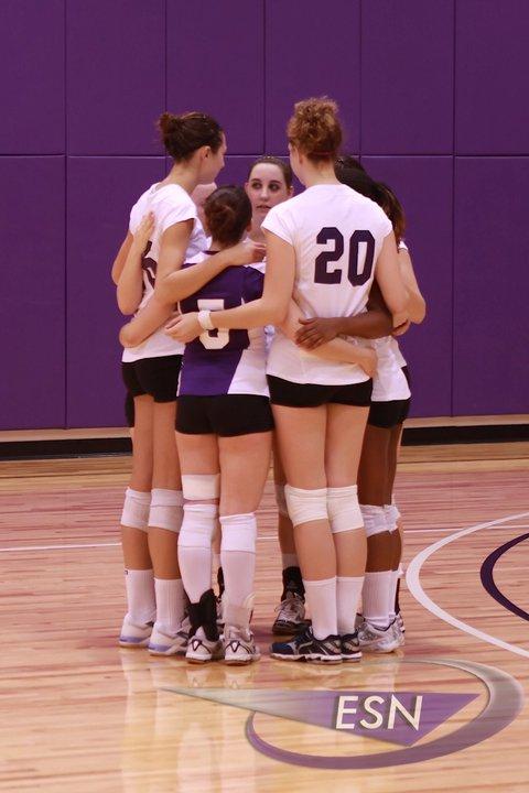 Emerson College women's volleyball team, circa 2010. I'm the small one in purple.