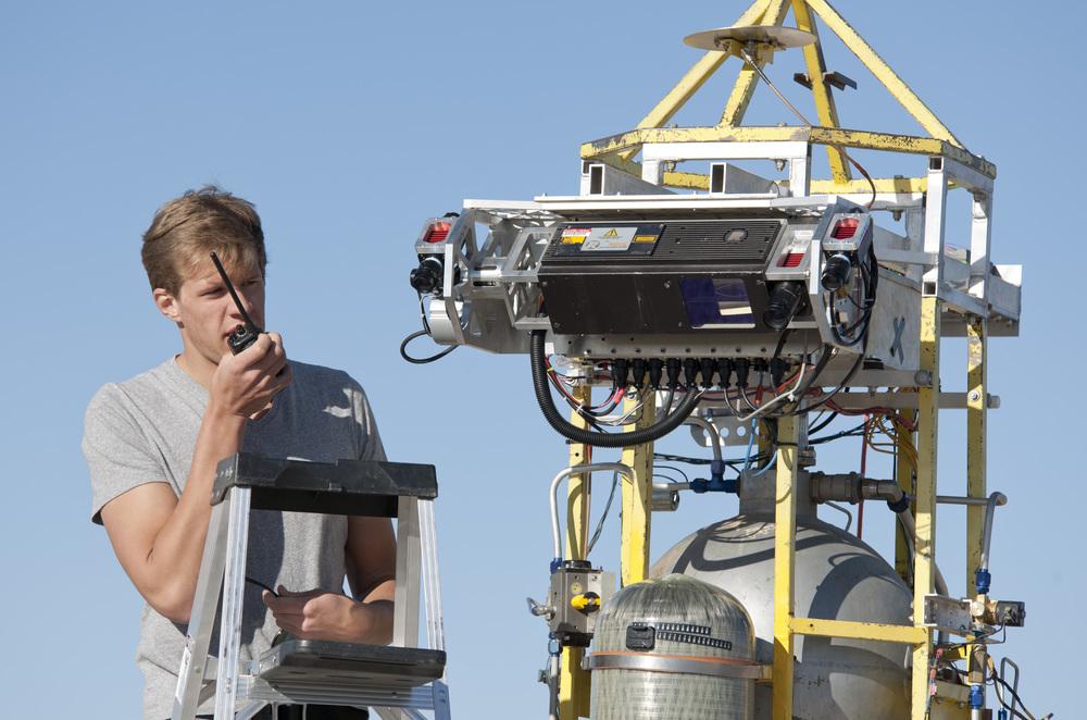 Rick Shanorchecks the sensor before a test.