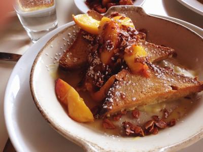 Siu's peach pecan french toast