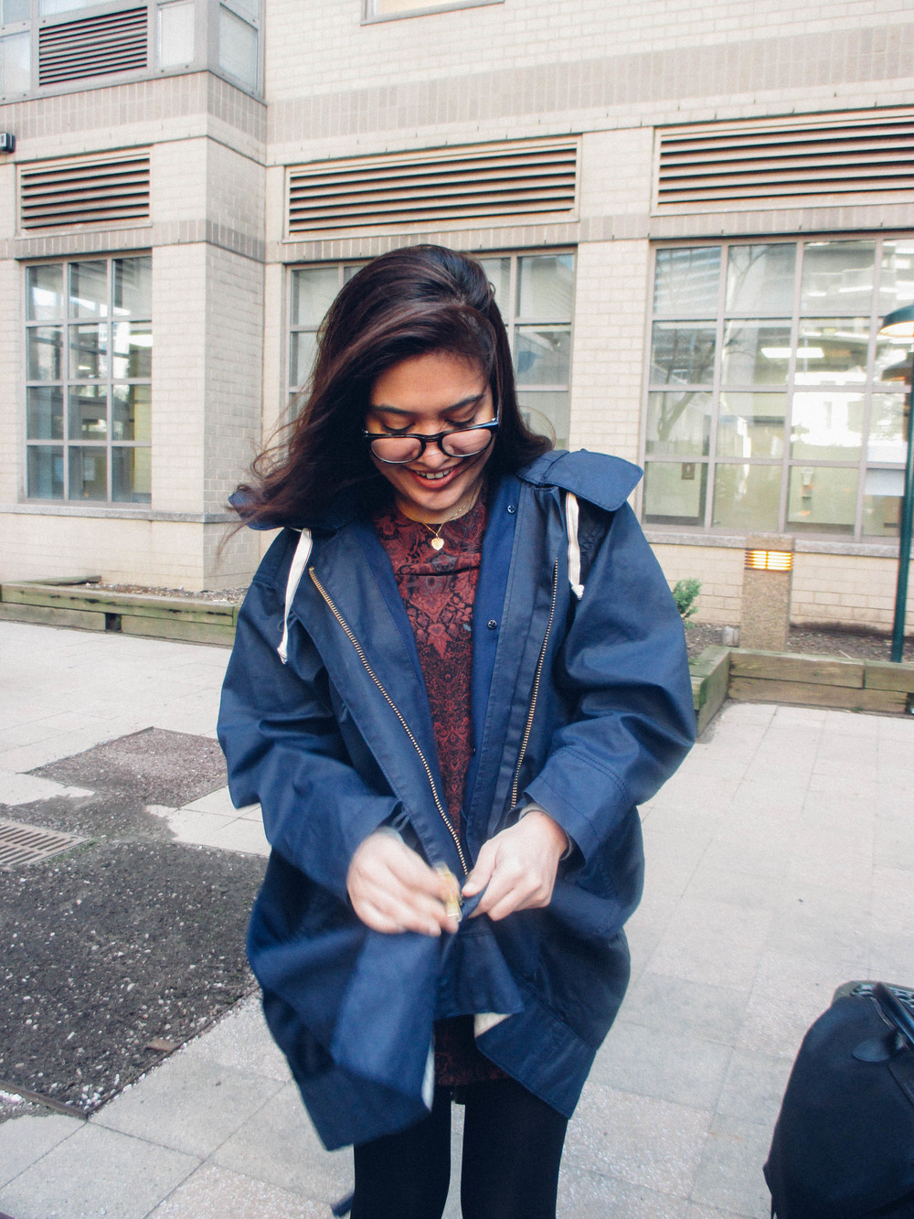 Anny and her über adorable jacket.