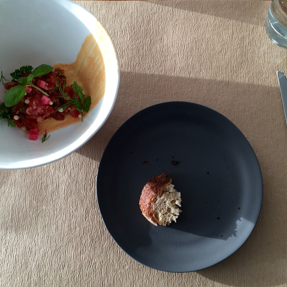 Chilled tuna tartare with serrano and pickled daikon