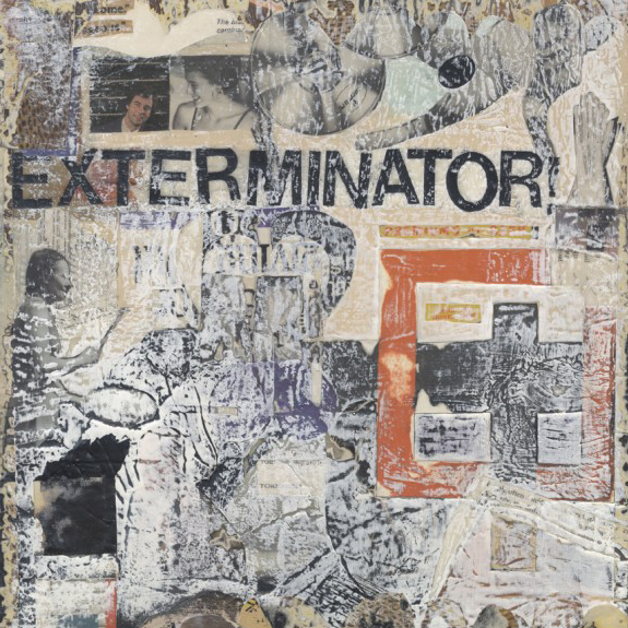 Exterminator. Mixed media collage on canvas with vintage ephemera. 12 x 12. 2013.