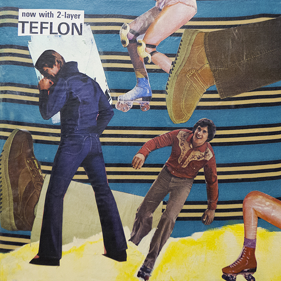 Teflon. Mixed media collage on canvas with fabric and vintage ephemera. 12 x 12. 2013.