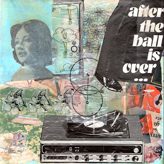 After the Ball. Mixed media collage on 300 lb. cold-pressed 100% rag paper with original vintage ephemera. 7 x 7 inches. 2013.