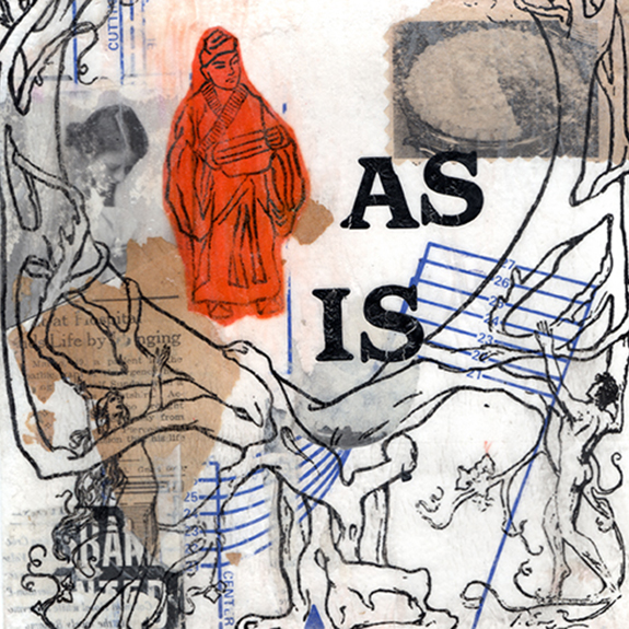 As Is. Mixed media collage on 300 lb. cold-pressed 100% rag paper with original vintage ephemera. 7 x 7 inches. 2013.