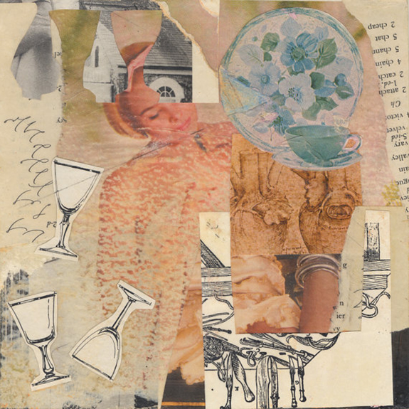 Dana. Mixed media collage on 300 lb. cold-pressed 100% rag paper with original vintage ephemera. 7 x 7 inches. 2013.