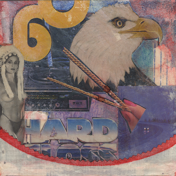Hard Gloss. Mixed media collage on 300 lb. cold-pressed 100% rag paper with fabric and original vintage ephemera. 7 x 7 inches. 2014.
