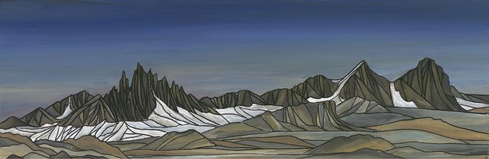 "Mammoth Skyline. Sierra Nevada. Acrylic 8""x24"""
