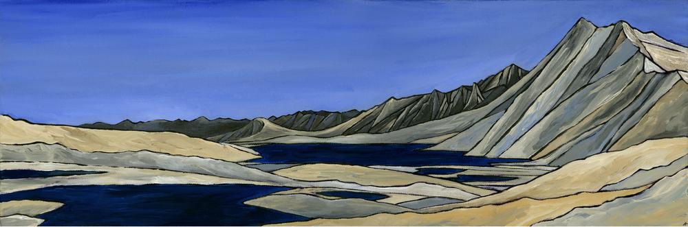 "Gardiner Basin, Sierra Nevada. Acrylic 8"" x 24"""