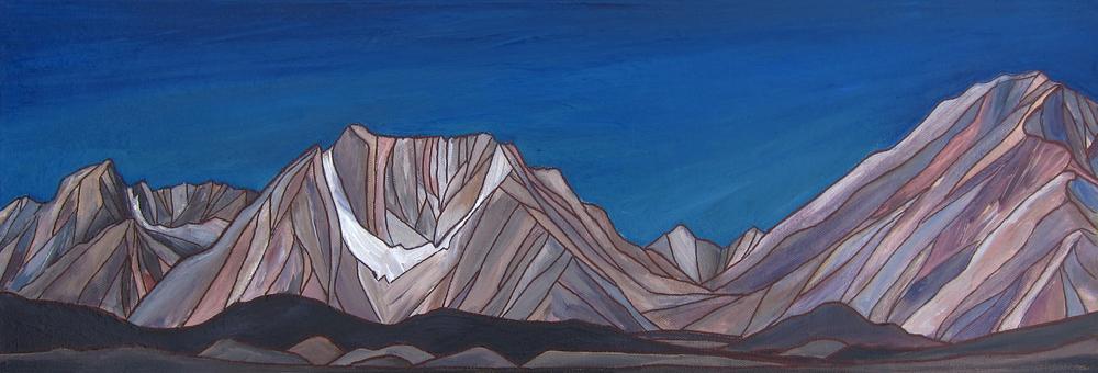"Bishop Skyline.Sierra Nevada.Acrylic 8""x24"""