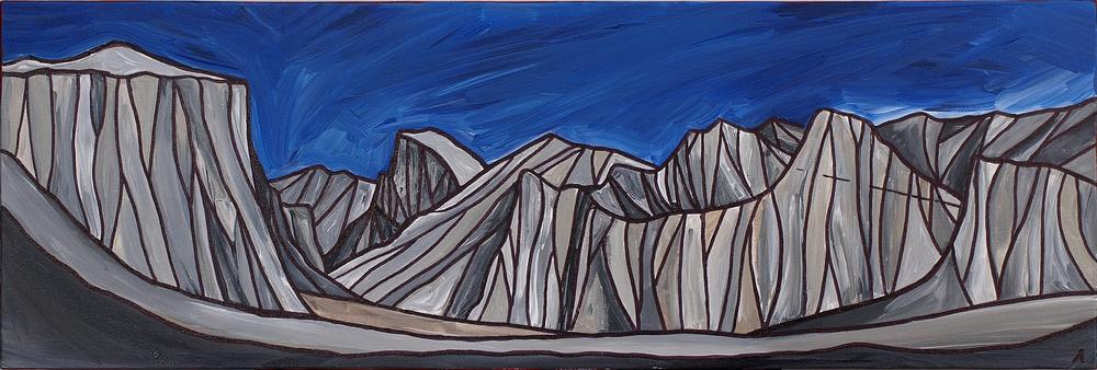 "Yosemite Valley, California. Acrylic 12"" x 36"""