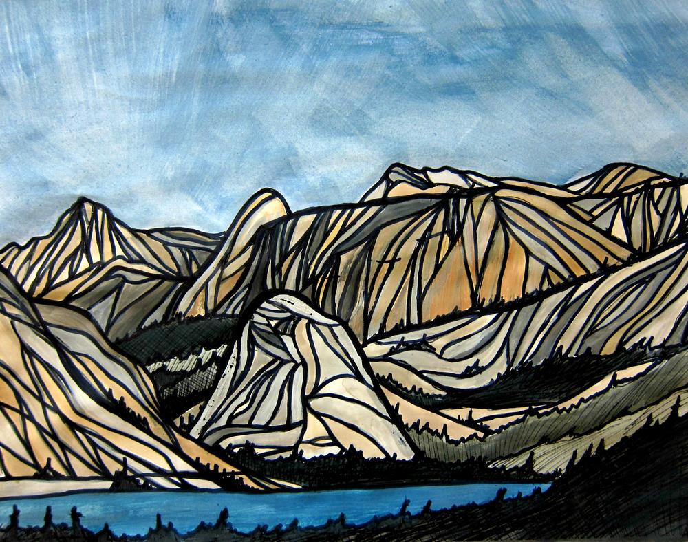 "Tenaya Lake, Yosemite. Watercolor 11"" x 14""CANVAS PRINT $95"