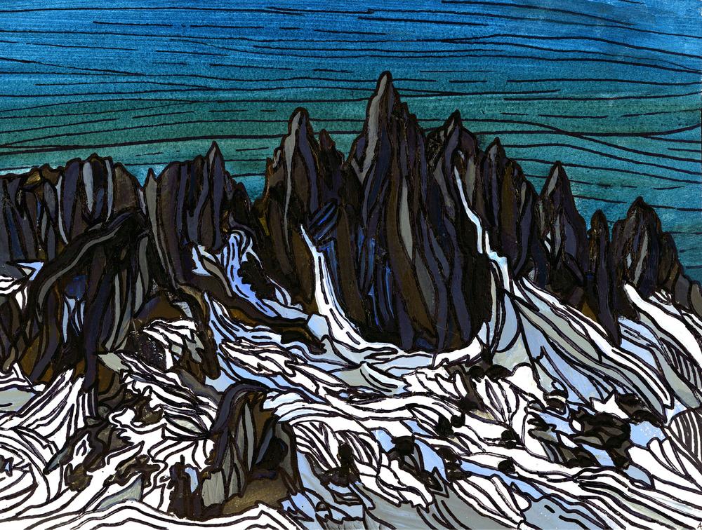 "Minarets, Sierra Nevada. Watercolor 11"" x 14"""