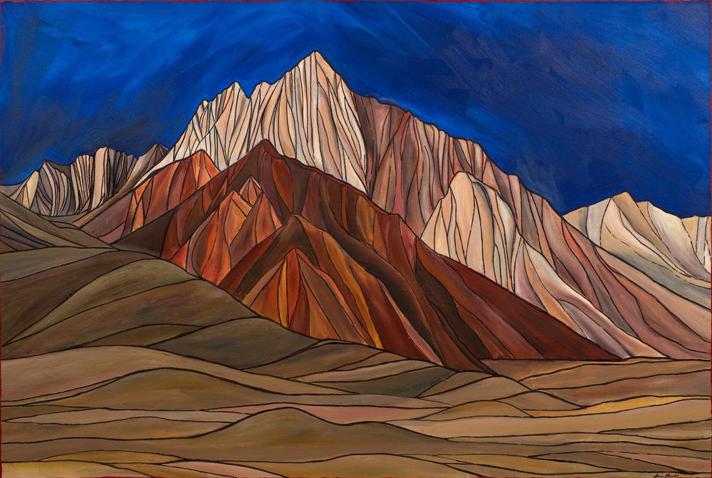 "Mt. Morrison, Sierra Nevada. Acrylic 24"" x 36"""