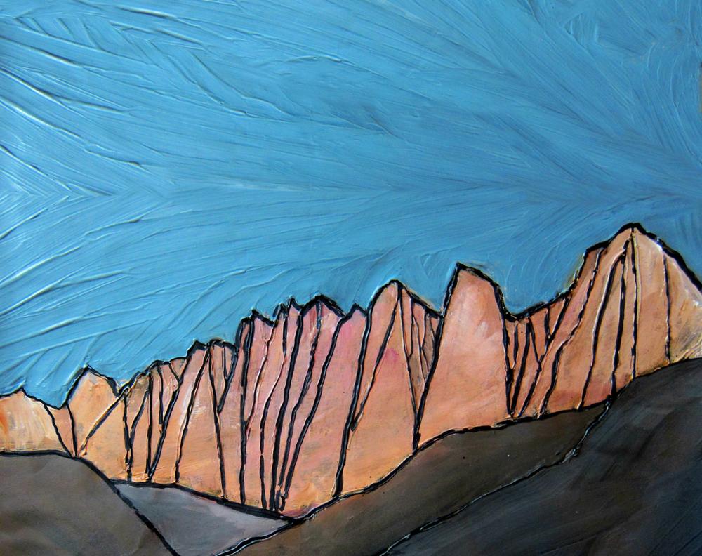 """Mt Whitney, Sierra Nevada. Acrylic 11"""" x 14"""""""