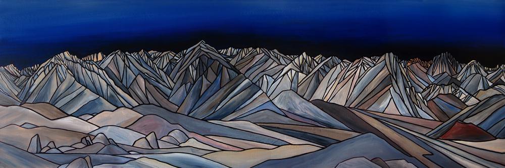 "Owens Valley Skyline, Sierra Nevada. Acrylic 20"" x 60"""