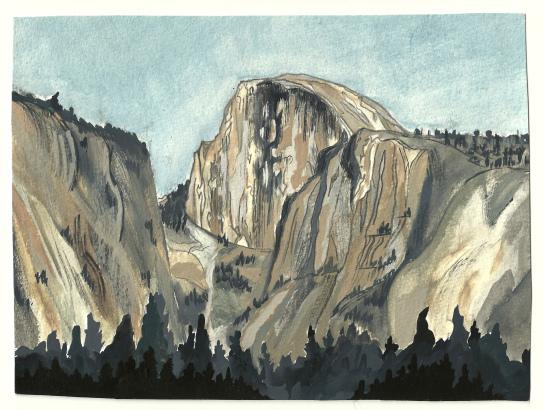 """Half Dome, Yosemite. Watercolor 8"""" x 10""""CANVAS PRINT $85"""