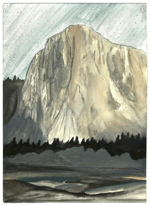 """El Cap, Yosemite. Watercolor 8"""" x 10"""""""