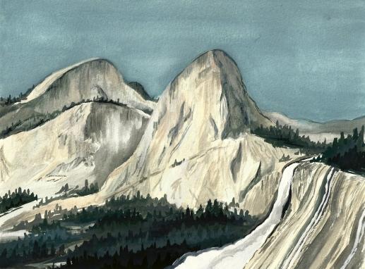 "Liberty Cap, Yosemite. Watercolor 8"" x 10""CANVAS PRINT $85"