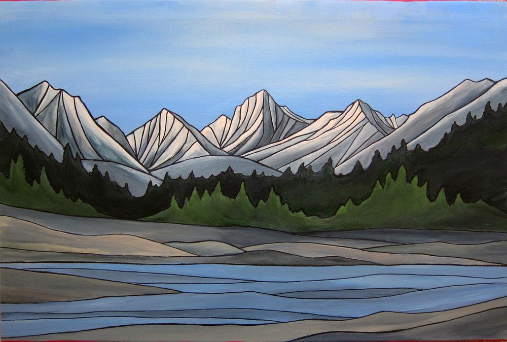 "Rock Creek, Sierra Nevada. Acrylic 24"" x 36"""