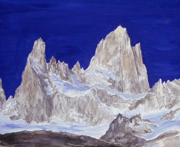 "Fitz Roy, Patagonia. Watercolor 11"" x 14"""