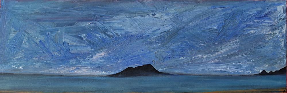 "Mono Lake, California. Acrylic 12"" x 36"""