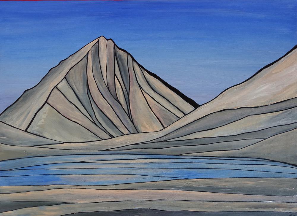 "Merriam Peak, Sierra Nevada. Acrylic 30"" x 40"""