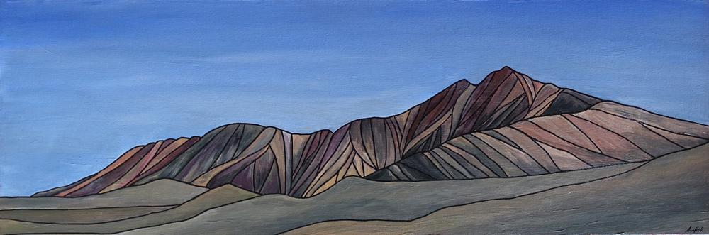 """White Mountain, CA. Acrylic 12"""" x 36"""""""
