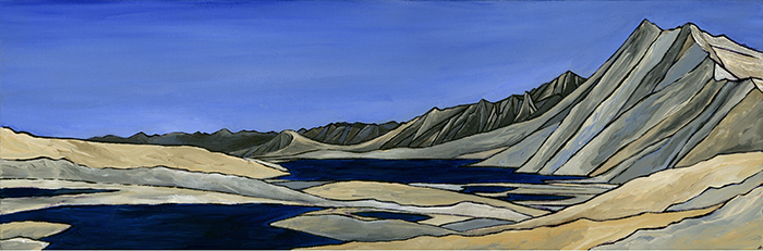 "GARDINER BASIN  Sierra Nevada A crylic 8"" x 24"""