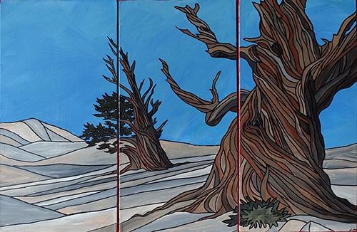 """BRISTLECONES I    Acrylic triptych 30"""" x 20"""""""
