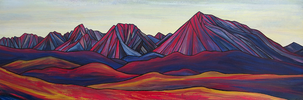 "RED BISHOP SKYLINE    Sierra Nevada     Acrylic  12"" x 36"""