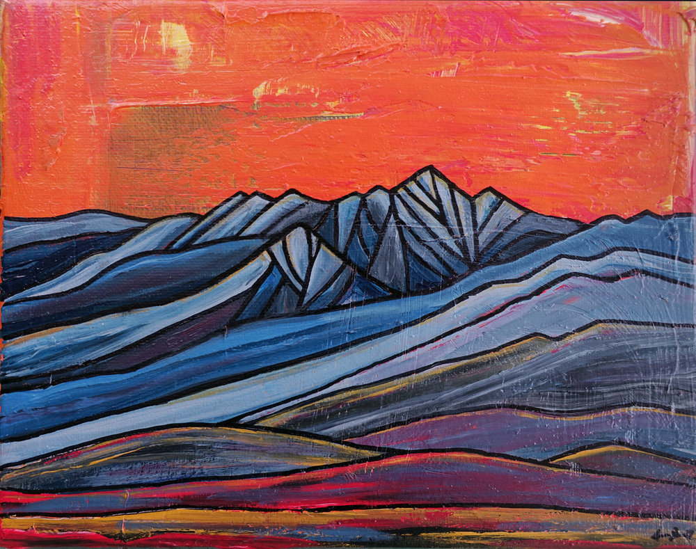 """White Mountain Sunrise""  Acrylic"