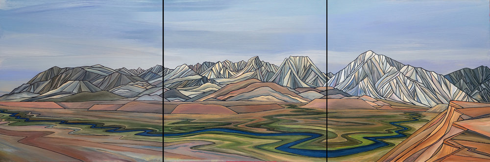 "BISHOP TABLELANDS    Acrylic Triptych 24""x 72"""