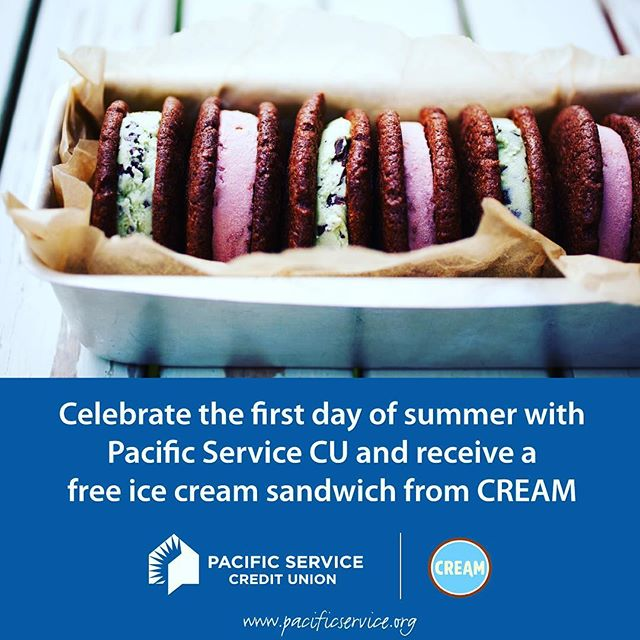 Pacific Service Credit Union is celebrating the first day of summer ☀️ with free ice cream 🍦 from @cream_nation Concord.  The first 300 people to show them this post will receive a free ice cream sandwich🍪. They'll be in front of CREAM, 2070 Salvio Street in Concord from 4 - 6 p.m. today!  Offer good while supplies last. ————————————————————————— #cityofconcord #concord #concordca #concordcalifornia #california #californialiving #eastbay #bayarea #contracosta #contracostacounty #cococounty #creditunion #creamnation #CREAM