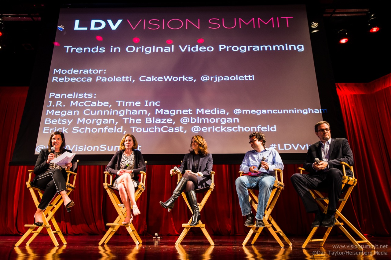"Panel: Trends in Original Video Programming. Moderator: Rebecca Paoletti, CakeWorks. Panelists: Betsy Morgan, The Blaze, Megan Cunningham, Magnet Media, Erick Schonfeld, TouchCast, J.R. McCabe, Time Inc. [L-R]  @Dan Taylor/Heisenberg Media We organized the LDV Vision Summit for all of you and we greatly appreciate your positive feedback: ""Thank you for all your tremendous work organizing yesterday. It's bold to bring everyone together from deep machine learning to publishers as brands - but it worked so well! I learnt a lot and met some great people, so thank you so much for including me! Sophie Lebrecht, Neon Labs, Co-Founder & CEO   ""Like any VC, I go to a lot of tech industry events and I've gotta say…I have rarely if ever been to a first time event that came out of the gates as strong as this one. Hats off, and I look forward to next year!"" Brad Svrluga, High Peaks Venture Partners ""Really impressive and most important - amazing founders presenting."" Adam Singolda, Taboola, Founder & CEO   ""You brought a lot of great thinkers in the space together. I enjoyed it!"" Megan Cunningham, Magnet Media, Founder & CEO ""It was a very informative and useful summit for me to attend.""Tom Kennedy, Kennedy Multimedia ""Great event. Loved the format with a good mix of startups, investors, researchers and students. Will definitely join next year."" Jan Erik Solem, Mapillary, Co-Founder & CEO ""A jaw-dropping event! Innovators, visionary thinkers and game-changing startups all in one room discussing the past, present and future of the visual web. A very well planned summit from A to Z!"" Oz Etzioni, Clinch CEO & Co-Founder ""What a difference a day makes!  Ten hours,  thirty-plus speakers and ideas beyond count.  The LDV Summit sowed seeds in my mind that will be sprouting for months to come: so many concepts, technological innovations and business structures to be developed.  Congratulations and thanks are due to LDV and all the participants, this was a necessary and helpful intervention in the discussion of new media."" Stephen Mayes ""Congratulations on a superb event. I met loads of interesting dynamic and successful people. And what a large crowd. Well done on such an excellent summit.""  Barry Shrier, Founder & CEO LIQUITY ""That day was a tour de force."" Amol Sarva, Co- Founder & CEO Knotable ""It was a pleasure judging at the summit, really innovative companies."" Erik Nordlander Google Ventures ""thanks so much for putting on such a great event, and for having me up to speak. really enjoyed the whole thing - well done!!"" Eric Berry, Co-Founder & CEO TripleLift ""thank you very much for the event, as I said yesterday I really enjoyed, and was pleasantly surprised with international crowd and diversity of speakers."" Kate Fedashko Founder & CEO Teller ""I was very impressed by the Summit organizers ability to gather all the important people in computer vision around this summit. Also, very excited to see the first event ever to mix academic researchers, entrepreneurs and VCs interested in the field. Can't wait for LDV vision summit 2015!"" Alexandre Winter, Placemeter Founder & CEO ""Visual technology porn with it's top stars on one stage : a dream come true."" Paul Melcher, Kaptur Creator & Writer ""I just wanted to send over an email and say thanks for the great organization and emcing of the summit this week! You did a fantastic job and I had no idea that New York was so vibrant with computer vision startups and the like. I got many very valuable new contacts…"" Martin Kallstrom, Narrative, CEO & Co-Founder ""I really enjoyed the summit—-I learned a lot from the discussions and I met a lot of computer vision people, whom I think I may start another company with someday. I just wanted to thank you again for giving me the opportunity to attend. Hope to see you again next year. Jacob Sniff, CoverSplash, Co-Founder, Sr. Engineer   ""I had a fantastic experience doing the challenge and coming to the summit, and it was wonderful to meet you and Serge and so many other amazing people."" Serena Yeung, Ph.D. Stanford University and winner of our Entrepreneurial Computer Vision Challenge ""It was a spectacular job and my cofounder and I enjoyed the summit very much."" David Luan, Dextro Co-Founder   ""What an amazing event you put on yesterday. You and your team did a stellar job in putting on a well orchestrated program, engaging speakers, great venue, I could go on and on. Fantastic Evan! Donna Romer, Samsung NYC Accelerator ""thanks for putting on a great summit! I learned some good stuff, caught up with people I hadn't seen in a while, and met some interesting new folks."" Jamie Hamilton, Categorical Technology, CEO   ""You do not disappoint. It was truly an honor to participate in what I'm sure will be just a first of a long run of annual LDV summits."" Barbara Tien, Ponga, Co-Founder & CEO ""Just wanted to drop a quick word of congrats for yesterday's event. I was able to attend up until about 4pm and the content was top notch. Met a bunch of outstanding people too. Really enjoyed it! Hope you're doing well - thanks for putting it on. Very valuable gathering."" Andrew Fingerman, Photoshelter, CEO ""Thank you very much for including me in the summit. I had a great time and enjoyed meeting the people."" Jeff Madoff, Madoff Productions, CEO ""As comedians, we weren't quite sure what to expect at the LDV Summit. But seeing as we do much of our work on YouTube and in the digital space, it was really cool to learn about how future technologies will change the ways in which we develop and create content."" Ethan Fixell, The Dave and Ethan Show,  Comedian"