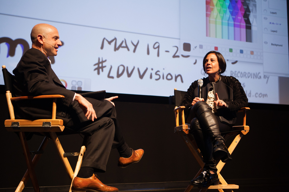Fireside Chat: Joanne Wilson [Gotham Gal Ventures] and Evan Nisselson [LDV Capital]. ©Robert Wright/LDV Vision Summit