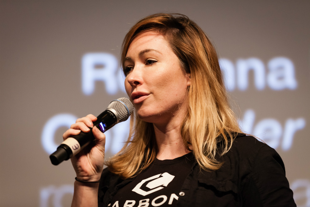 Rosanna Myers, Co-Founder & CEO Carbon Robotics during her 4 minute startup competition presentation.   ©Robert Wright/LDV Vision Summit