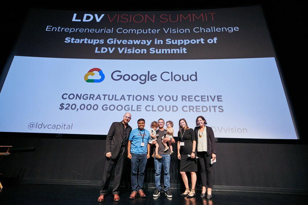Celebrating MoQuality's victory in the 2018 Startup Competition [L to R] Evan Nisselson of LDV Capital, Shauvik Roy Choudhary of MoQuality, Serge Belongie of Cornell Tech with August & Emilia Belongie, Abby Hunter-Syed of LDV Capital and Rebecca Paoletti of CakeWorks.©Robert Wright/LDV Vision Summit 2018