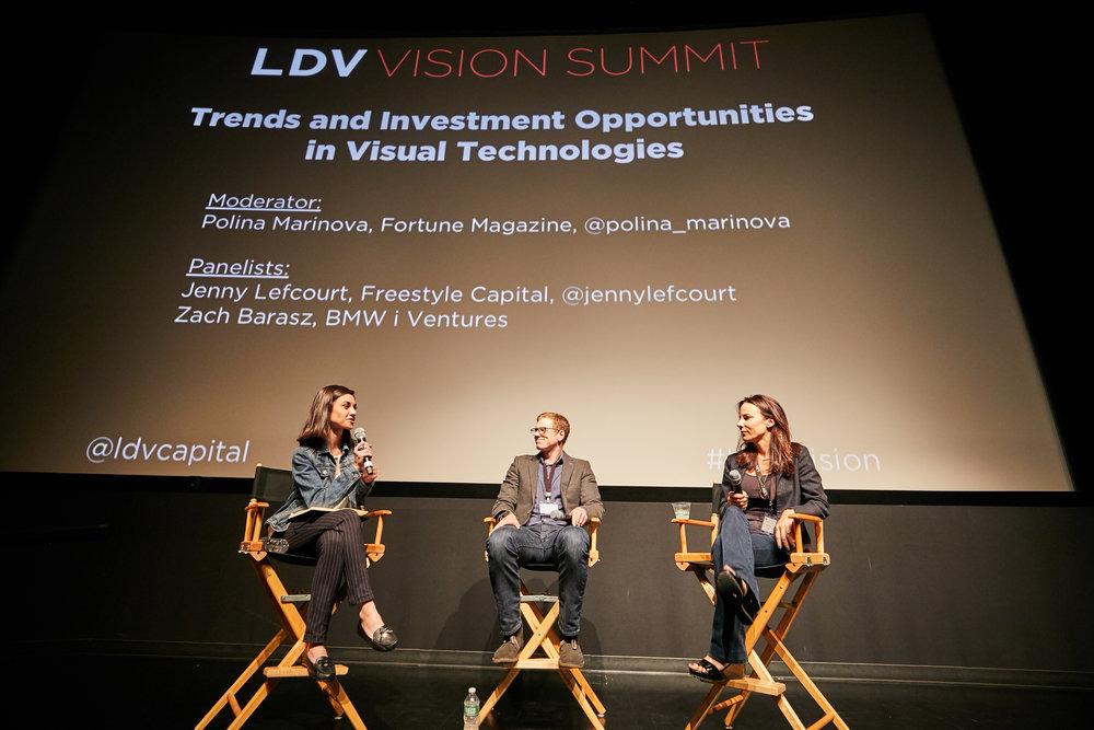 Panel Day 1: Trends in Visual Technology Investing [L to R]Polina Marinova, Fortune Magazine, Zach Barasz, BMWi Ventures, Jenny Lefcourt, Freestyle Capital ©Robert Wright/LDV Vision Summit 2018