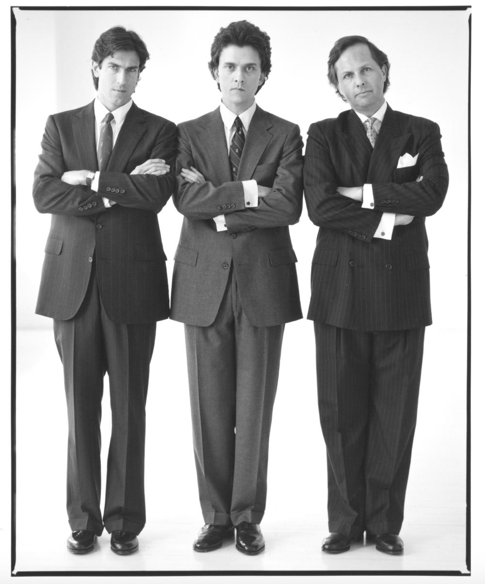 Spy 's founding team: Tom Phillips, Kurt Andersen, and Graydon Carter for Barneys, 1988.  Photo by Annie Leibowitz