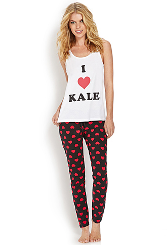 Forever 21 I Heart Kale PJ Set